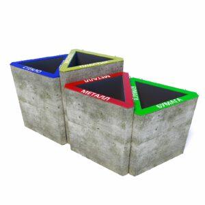 Бюджетные бетонные урны для раздельного сбора мусора Тандем