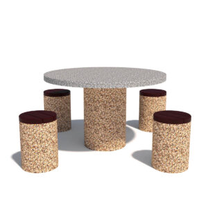 Купить бетонный круглый стол с табуретами