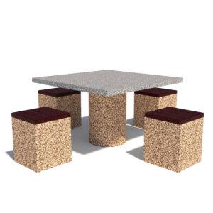 Купить бетонный квадратный стол с табуретами